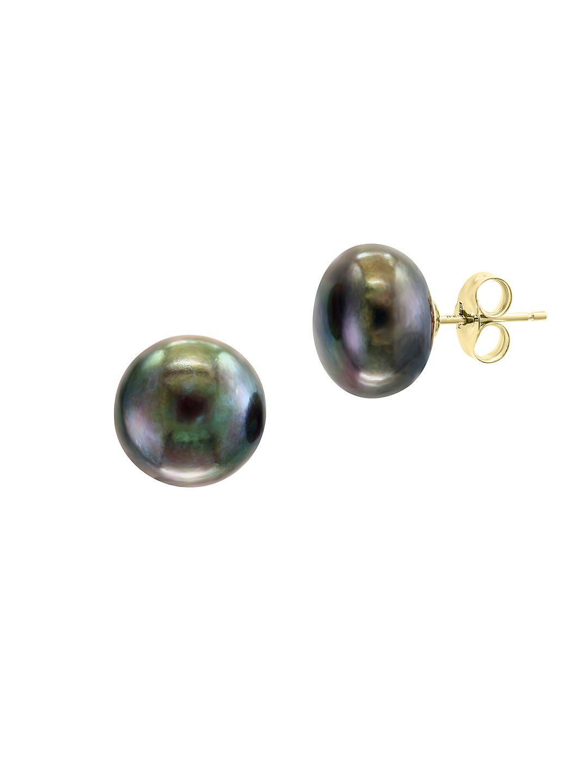 14K Yellow Gold & 11-12mm Freshwater Pearl Stud Earrings