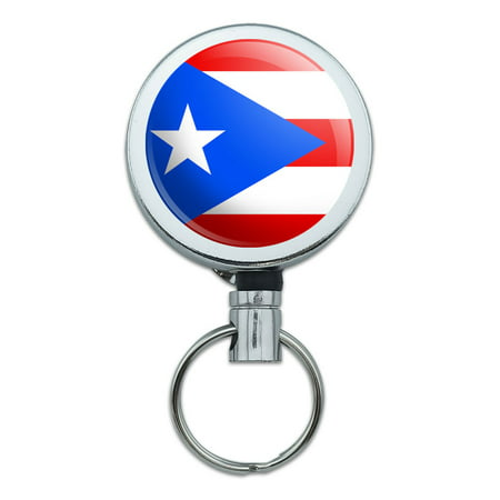 Puerto Rico National Country Flag Retractable Belt Clip Badge Key Holder