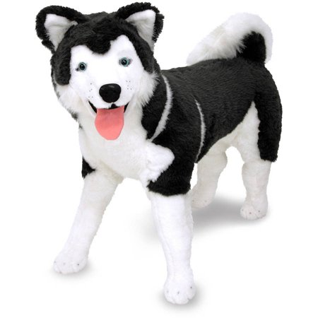 Melissa & Doug Giant Siberian Husky, Lifelike Stuffed Animal Dog, over 2 tall
