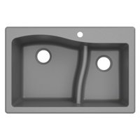 KRAUS Quarza? 33? Dual Mount 60/40 Double Bowl Granite Kitchen Sink in Grey