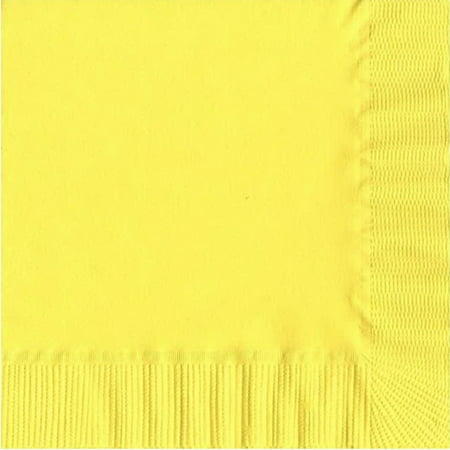 200 -  (4 Pks of 50) 2 Ply Plain Solid Colors Luncheon Dinner Napkins Paper - Yellow