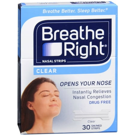 Breathe Right Nasal Strips Clear Small Medium 30 Each  Pack Of 6