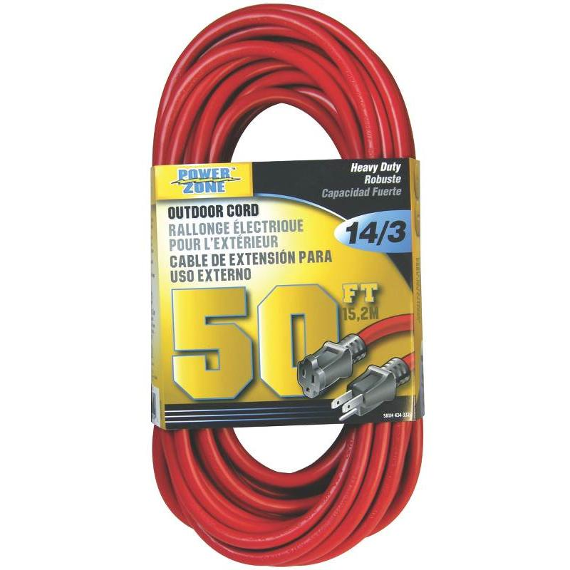 Cord Ext 14Awg 3C Cu 50Ft 13A Power Zone Extension Cords ORK506730  Red Copper