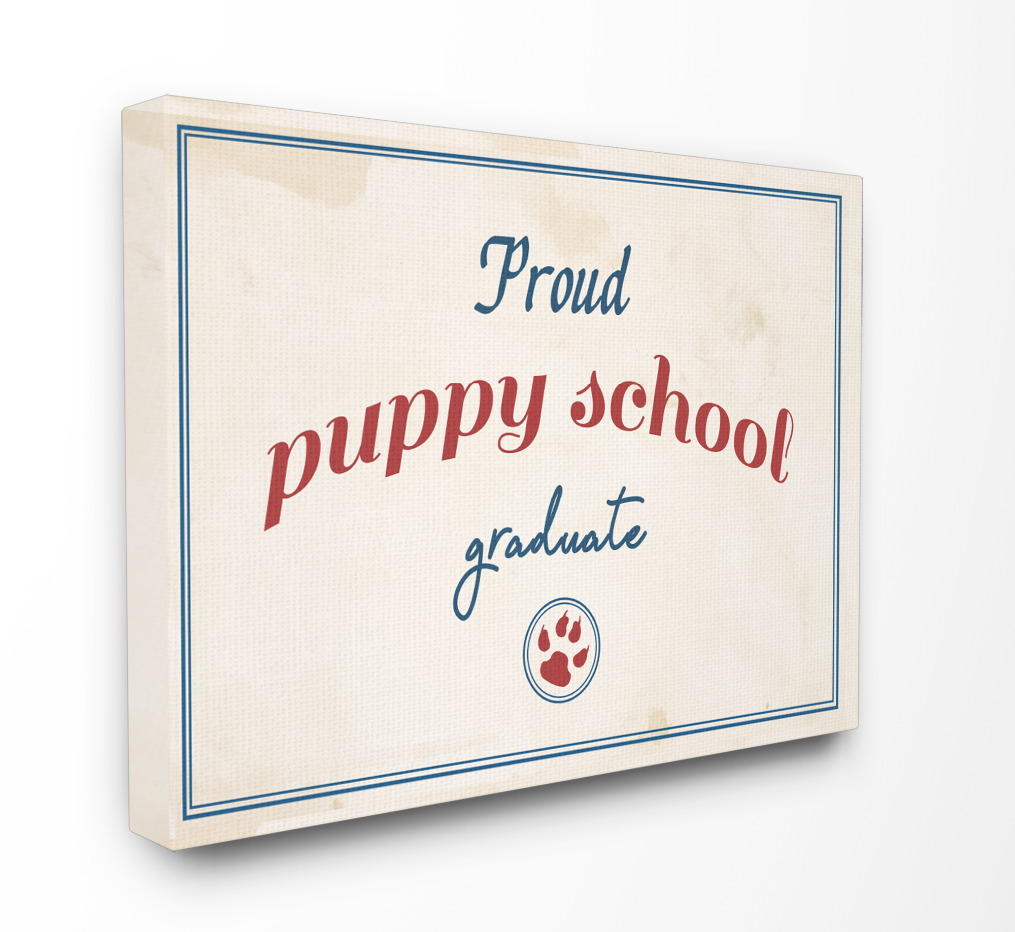 The Stupell Home Decor Collection Proud Puppy School Grad Paw Print Oversized Stretched Canvas Wall Art