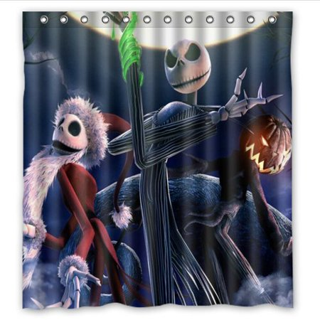 DEYOU The Nightmare Before Christmas Shower Curtain Polyester Fabric Bathroom Size 66x72 Inch