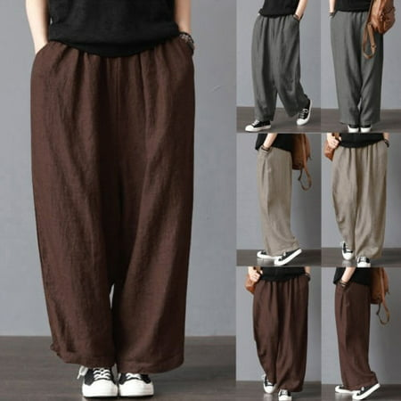 Men´s Casual Loose Drawstring Waist Solid Linen Trousers Beach Pants Fashion