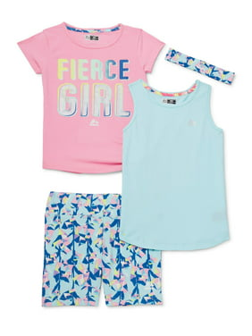 RBX Girls 7-12 Side Tie Graphic Athletic T-shirt, Tank Top and Bike Shorts, 3-Piece Active Set with Headband