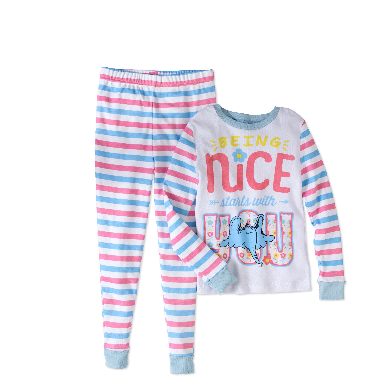 Dr Seuss Girls' Horton Tight Fit Pajama 2pc Sleepwear Set