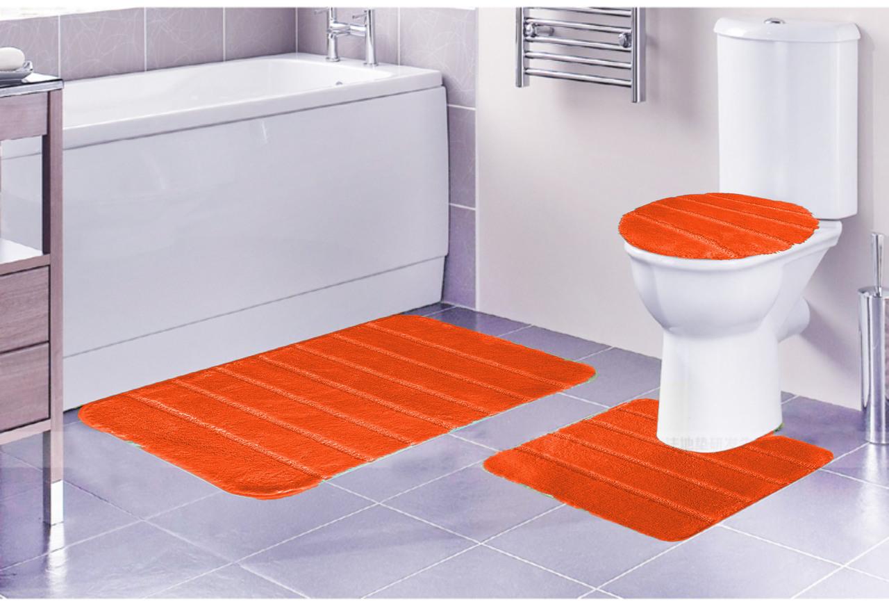 Louise Ribbed 3 Piece Bathroom Rug Set, Bath Rug, Contour Rug, Lid Cover Navy by Kashi Home