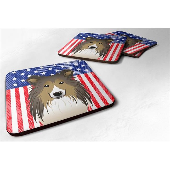 American Flag & Sheltie Foam Coaster, Set of 4 - image 1 of 1