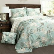 Botanical Garden Quilt 4-Piece Set, Blue