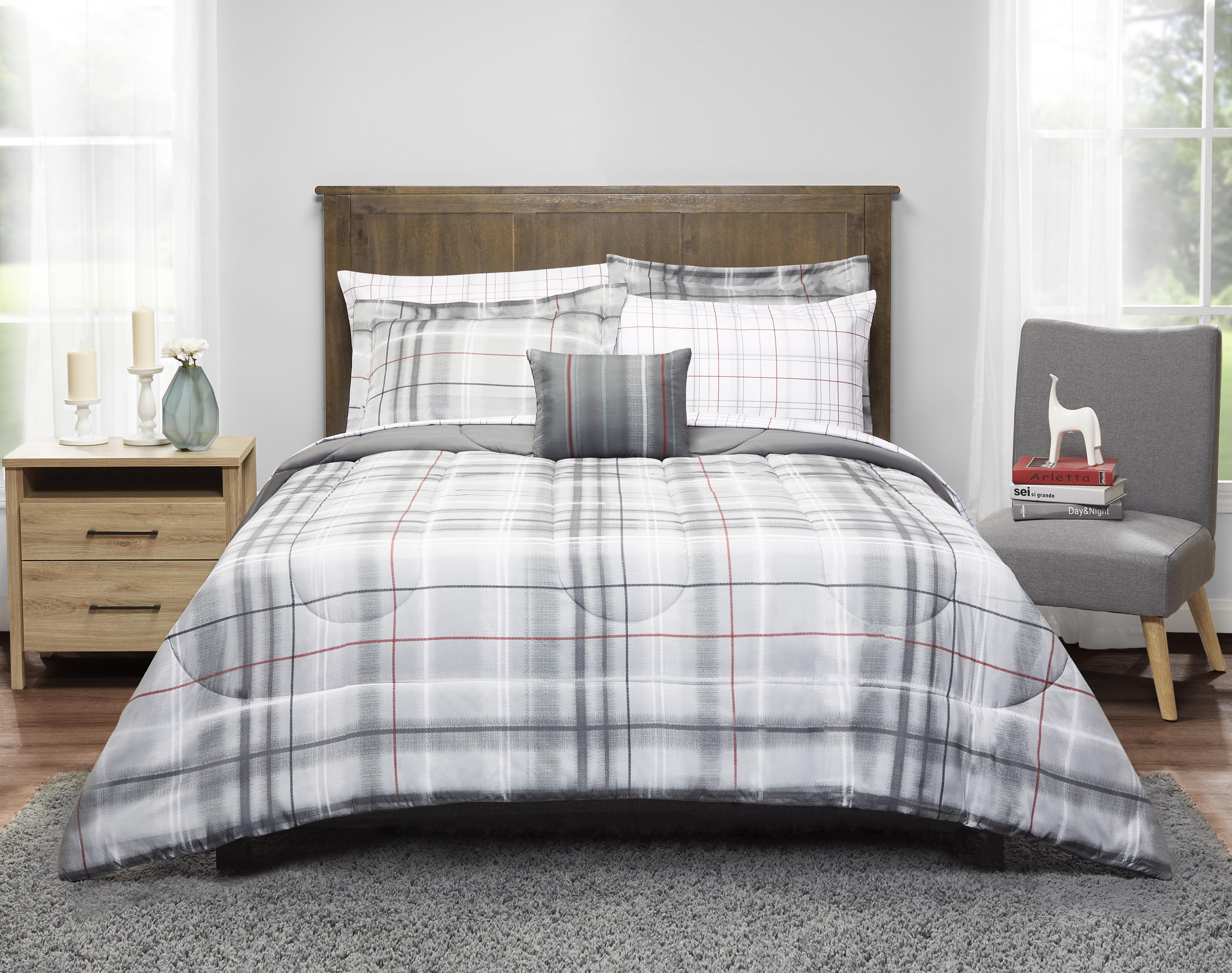 mainstays grey plaid bed in a bag bedding set. Black Bedroom Furniture Sets. Home Design Ideas
