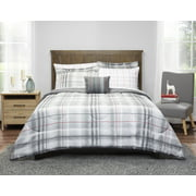 Mainstays Grey Plaid Bed in a Bag Bedding Set