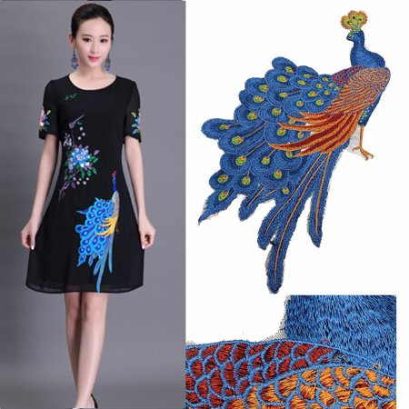 Peacock Flower Motif Collar Sew on Patch Bird Applique Badge Embroidered Dress.