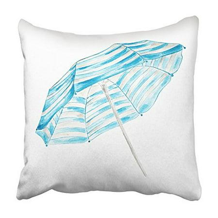 ARHOME Blue Drawn Watercolor Beach Umbrella White Sketch Summer Elegant Graphic Hand Pillowcase Cushion Cover 16x16 inch ()