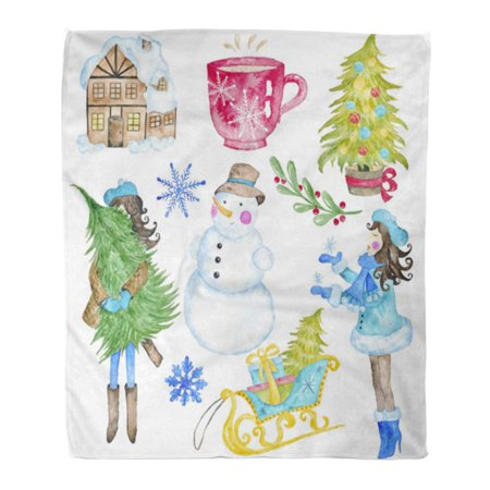 SIDONKU Throw Blanket Warm Cozy Print Flannel Christmas Winter Watercolor Hand Seasonal Holiday Merry Bright Joy Snowman Girl Comfortable Soft for Bed Sofa and Couch 58x80 Inches ()