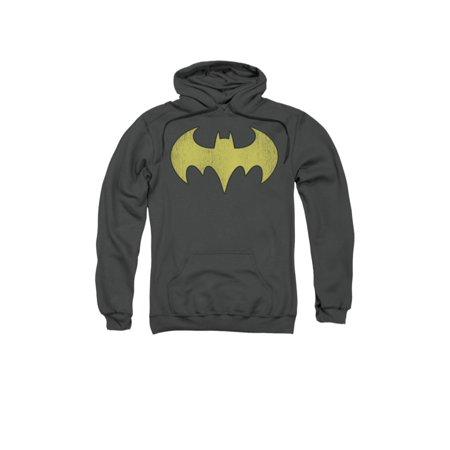 DC Comics Batgirl Logo Distressed Adult Pull-Over Hoodie (Batgirl Hoodie)