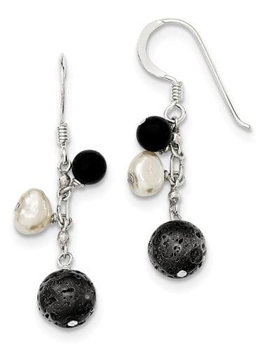Sterling Silver & Freshwater Cult. Pearl/Black Agate/Lava Rock Dangle Earrings (1.5IN x 0.5IN )
