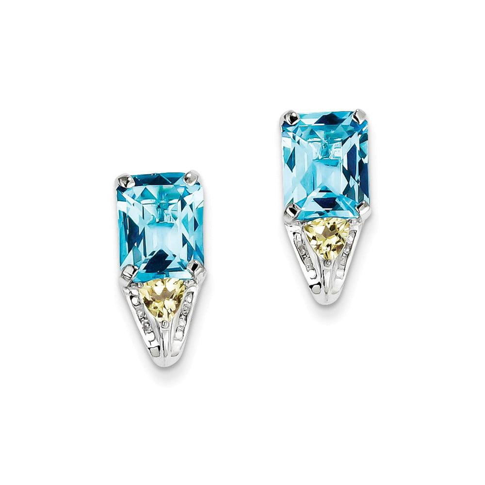 Sterling Silver Blue Topaz & Diamond Earrings. Carat Wt- 0.04ct. Gem Wt- 7.27ct (0.7IN x 0.3IN )