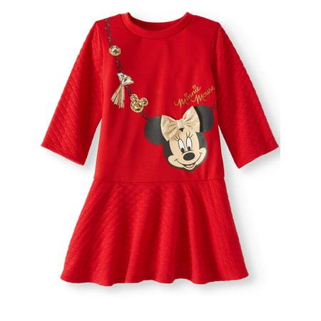 Scuba Top & Quilted Knit Skirt 3/4 Sleeve Dress (Toddler Girls)