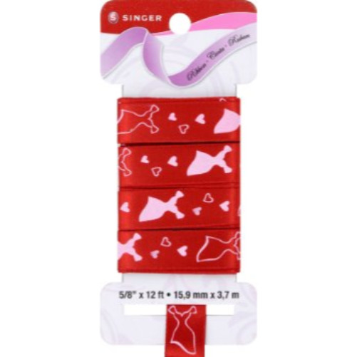 Singer Cherry Satin Ribbon with Red Dress, 5/8-Inch by 12-Feet
