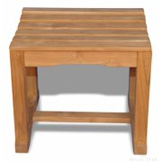 """20"""" Natural Teak Outdoor Patio Backless Bench Single Seat"""