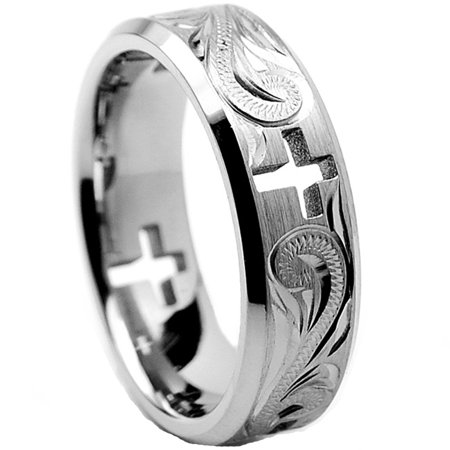 7MM Titanium Ring Wedding Band With Cross Cut Out and Engraved Floral Design
