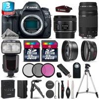 Canon EOS 5D Mark IV Camera + 50mm 1.8 + 75-300mm + 64GB + Flash + 2yr Warranty
