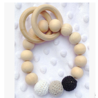 Baby Teething Toy,Handmade Natural Wooden Baby Teether Bracelet Crochet Beads Teething Ring Infant Toy Gift by Ymiko