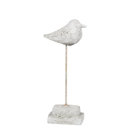 Privilege 34454 4.5 x 2.5 x 13 in. Traditional Cement Bird Table Top Decor,Grey - Large (Retro 13 Cement Grey)