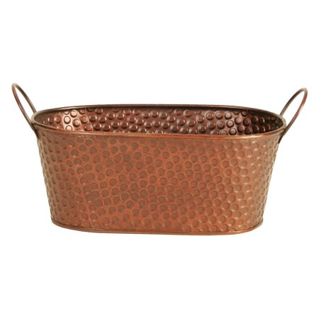 Wald Import Oval Hammered Copper Planter