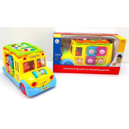 Children Battery Operated Multifunctional Intellectual School Bus, Bump and Go, Music and Light - image 1 of 7
