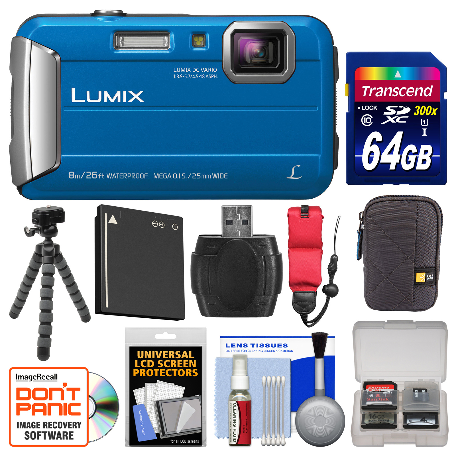 Panasonic Lumix DMC-TS30 Tough Shock & Waterproof Digital Camera (Blue) with 64GB Card +