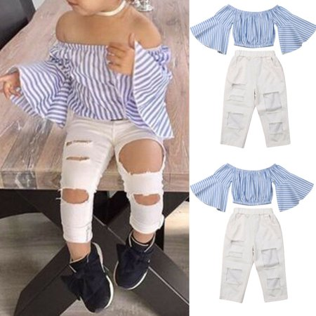 Fashion Toddler Baby Girl Kid Off Shoulder Tops Pants Summer Clothes Outfits Set](Fifties Fashion For Girls)