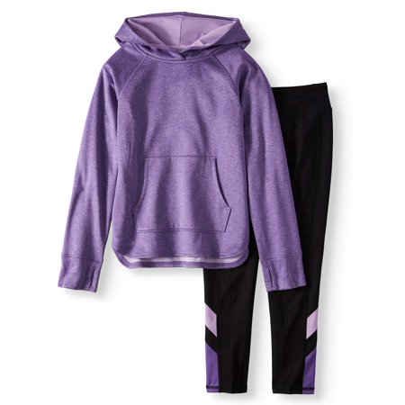 Athletic Works Brushed Fleece Crossover Hoodie & leggings, 2-Piece Active Set (Little Girls and Big Girls)