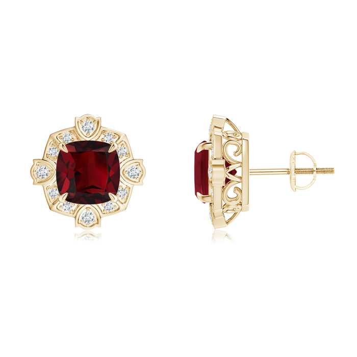 Angara Vintage Inspired Halo Garnet Studs in Yellow Gold kmZoU7OpI