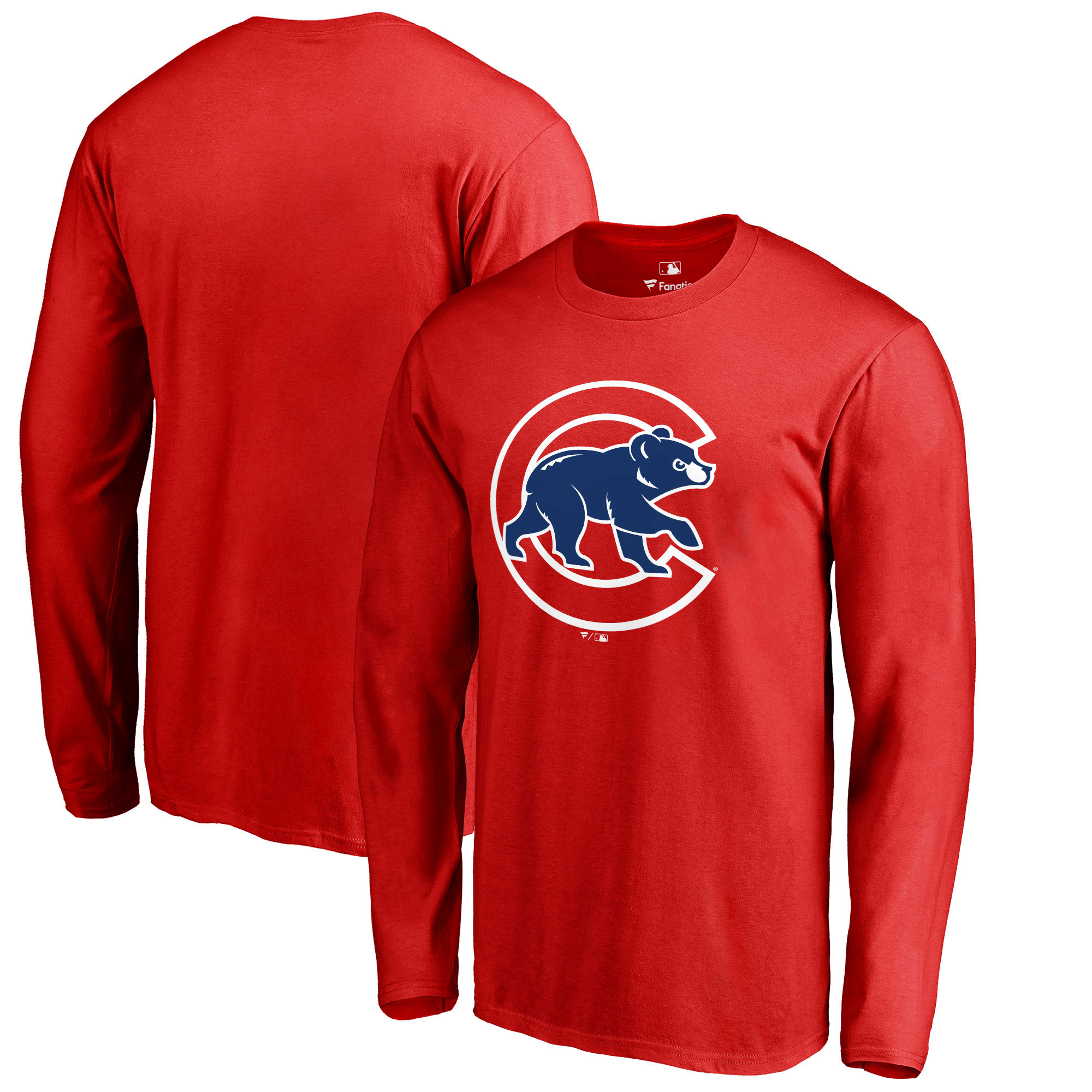 Men's Fanatics Branded Red Chicago Cubs Primary Logo Long Sleeve T-Shirt