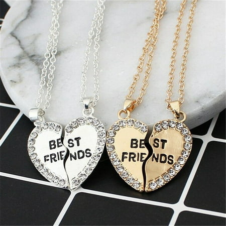Best Friends Heart Shape Diamond Minimalist Necklace Jewelry Birthday Jewelry