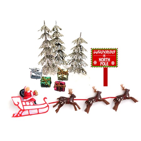 Santa Sleigh Reindeers Christmas Holiday Trees & Presents Cake Decoration Topper