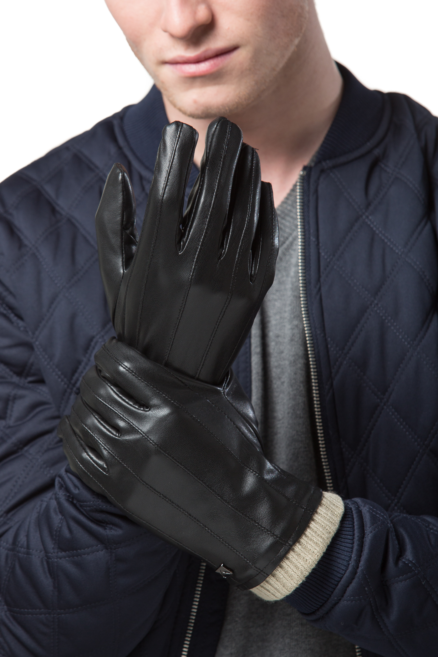 MENS TOUCH SCREEN faux LEATHER GLOVES THERMAL LINED BLACK DRIVING WINTER GIFT