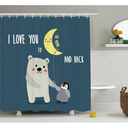 I Love You Shower Curtain, Teddy Bear and Penguin Best Friends Arctic Lovers under Moon Cartoon, Fabric Bathroom Set with Hooks, 69W X 70L Inches, Slate Blue Grey Yellow, by