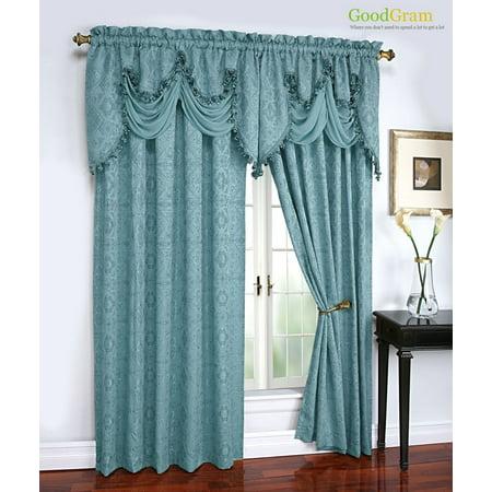 Portofino Raised Jacquard Complete Window Curtain Onion Fringed Valance Treatments Turquoise