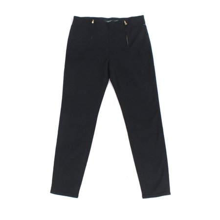 Lauren by Ralph Lauren NEW Black Womens Size 4 Zipper-Detail Pants
