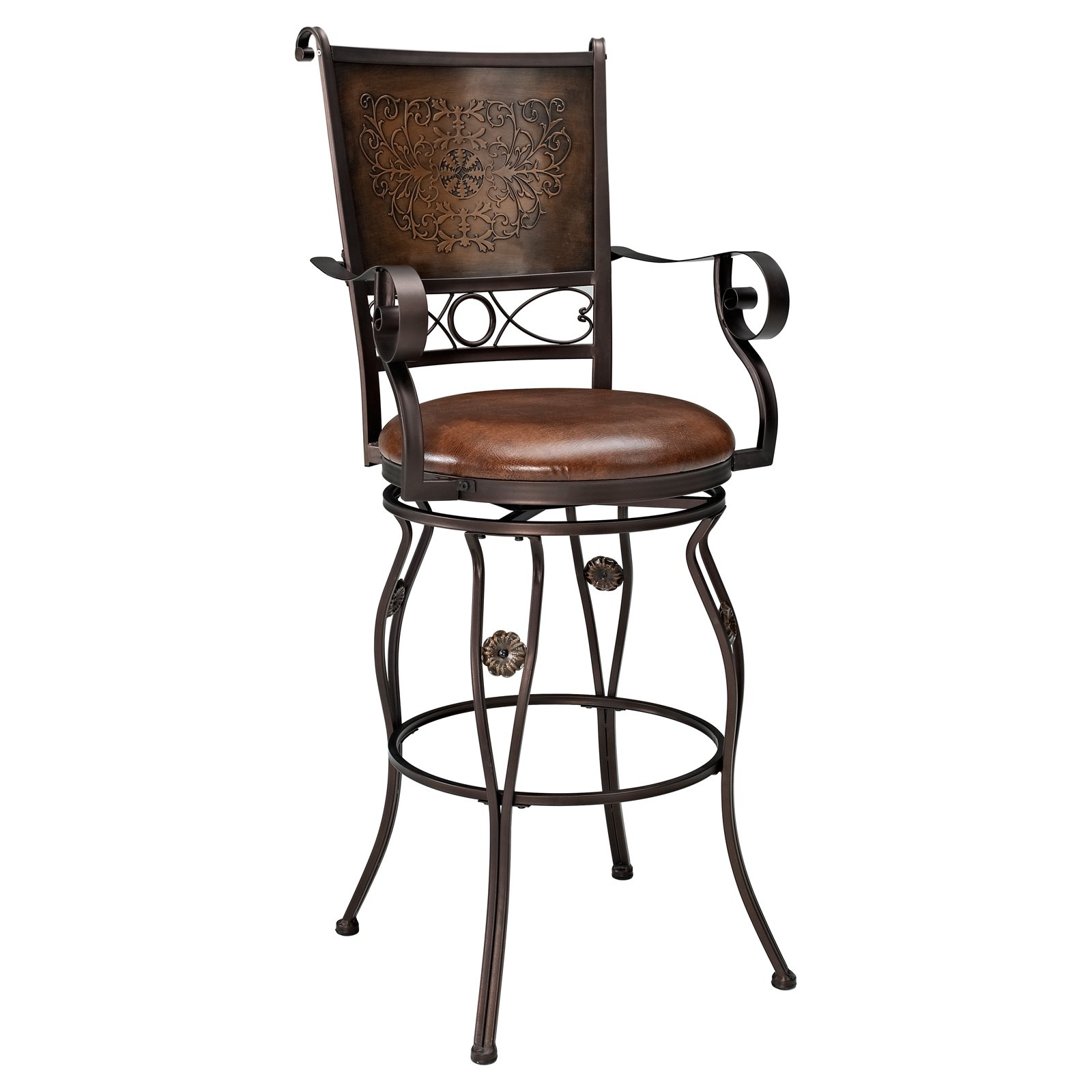 Powell Big Tall Copper Stamped Back Swivel Bar Stool With Arms Com