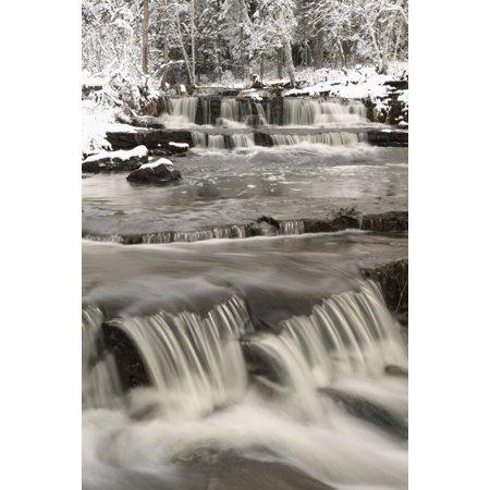 Waterfalls With Fresh Snow Thunder Bay Ontario Canada Canvas Art   Susan Dykstra  Design Pics  24 X 38