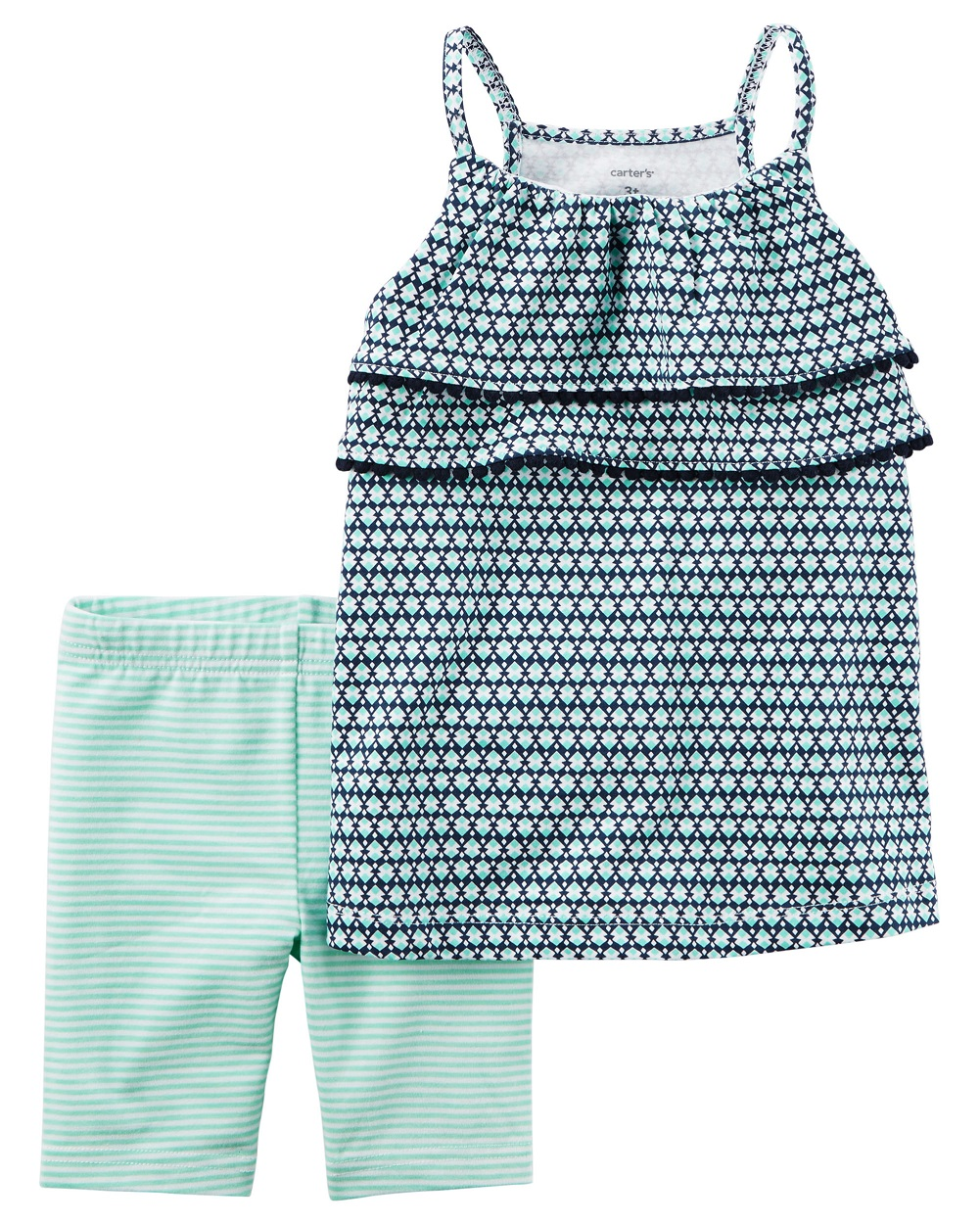 Carter's Baby Girls' 2-Piece Geo Print Tank And Biker Shorts 3 Months