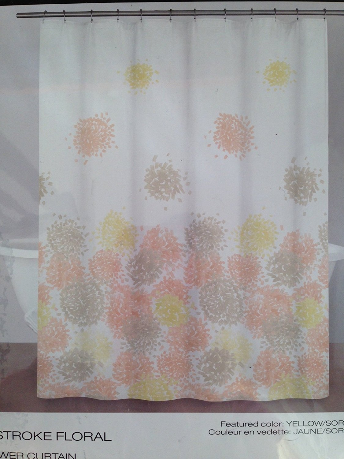 Brushstroke Floral Yellow Sorbet Cotton Fabric Shower Curtain DKNY By