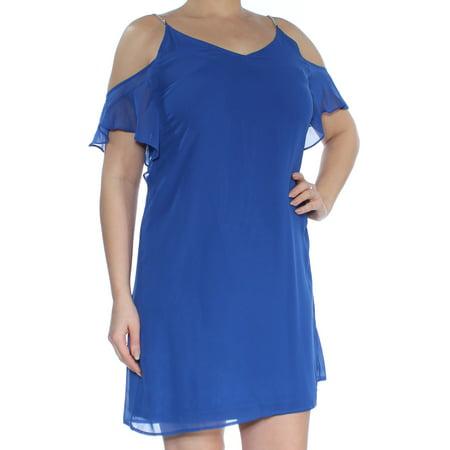 MICHAEL KORS Womens Blue Cold Shoulder Tie Scoop Neck Mini Fit + Flare Dress  Size: (Blue Michael)
