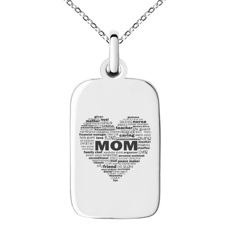 Stainless Steel Inspirational Mom Heart Small Rectangle Dog Tag Charm Pendant Necklace