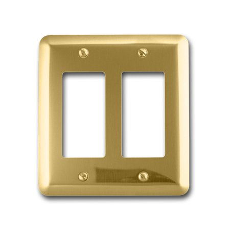 Image of Amerelle 155RR Decorative Steel Round Corner Double Rocker/GFCI Wallplate, Bright Brass